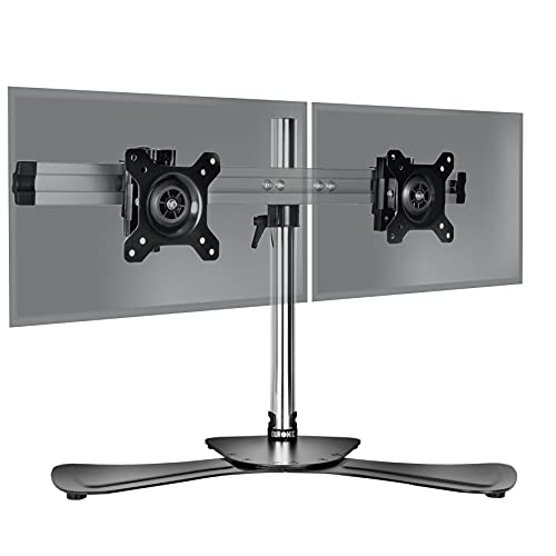 """Duronic DM752 Soporte para 2 Monitores de 15"""" a 24"""" Pulgadas con Base y Brazo Extensible - PC TV LED LCD – 8Kg Máx Cada una - Soportes y Brazos de Escritorio para Ordenador, Oficina, Estudio"""