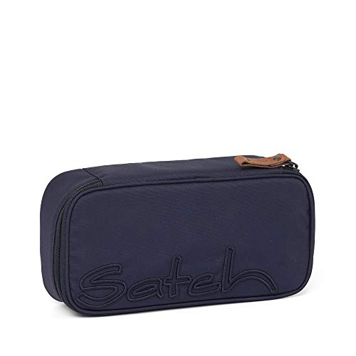 Satch Schlamperbox Nordic Blue, Mäppchen mit extra viel Platz, Trennfach, Geodreieck, Blau