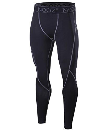 Nooz Men's Quick Dry Powerflex Compression Baselayer Pants, Legging Tights for Men - Black, Medium