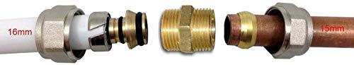 Adaptador de compresión de 15 mm - 16 mm (Cu - PEX) para la transición del tubo de cobre a PEX