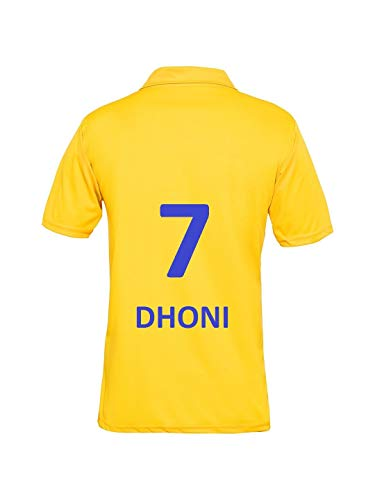 IPL Cricket CSK 2019 Jersey Supporter T Shirt DHONI 7 Custom Print Name No Chennai Super Kings Uniform(DHONI 7, 42)