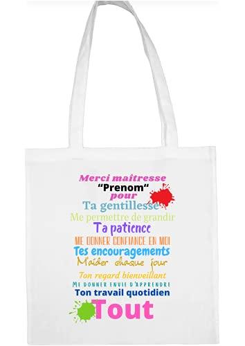 sac shopping, tote bag en coton merci maîtresse personnalisable