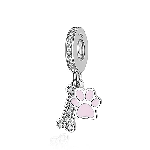 Pandora 925 colgante de plata esterlina Diy esmalte rosa perro Paw Bone Bead Cz Charms Fit pulsera europea para mujer regalo de joyería
