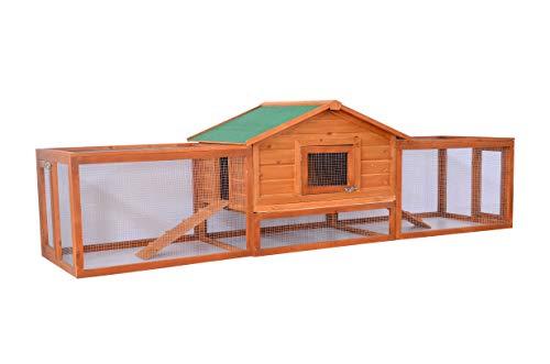 Pawhut Hasenstall Hasenkäfig Kaninchenstall Kaninchenkäfig Kleintierstall mit Freigehege L309 x B79 x H86cm