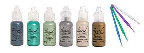 Ranger Liquid Pearls Bundle - 6 Liquid Pearls with PTP Flash Deals Blending Sticks (Patina: Slate, Sage, Mermaid, Pewter, Platinum, Copper)