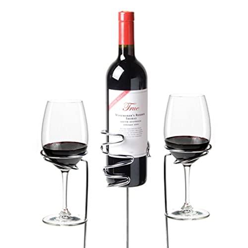 True Wine Glass & Bottle Holders Picnic Stix, Set of 3, Metallic