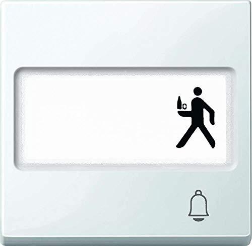Merten MEG3365-0319 Wippe mit Schriftfeld und Kennzeichnung Klingel, polarweiß glänzend, System M