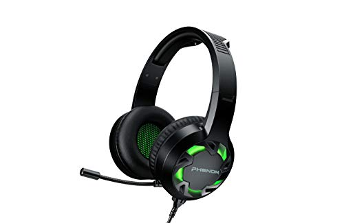 Phenom EXPO3 Stereo Gaming Headset for PS4, Xbox, Tablet or Smartphone, Noise Cancelling Headphones with Boom Mic and LED Glow Lights (Green)