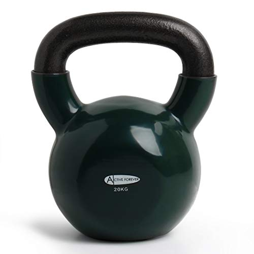 ActiveForever Kettlebell, Kettlebell in ghisa Rivestita in Neoprene, Kettlebell, Fitness Kettlebell (Verde Erba, 20Kg)
