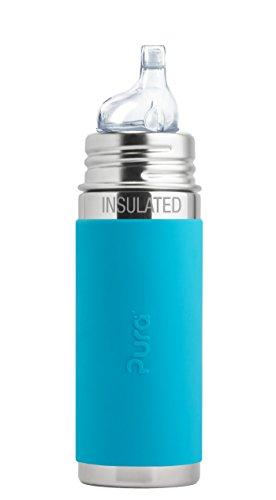 Pura kiki ISOLIER Babyflasche Edelstahl blau Trinklernsauger