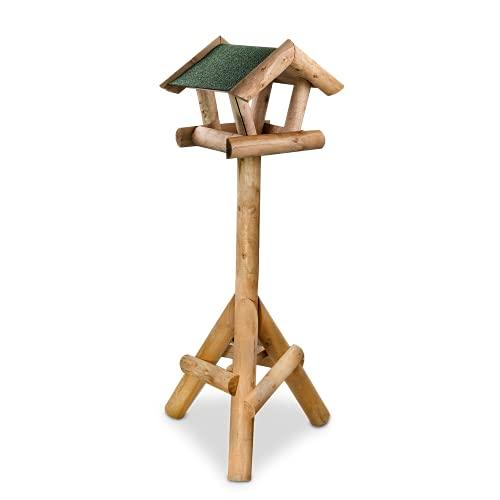 GARTENETAGE Vogelhaus Kiefer/ massives Vogelfutterhaus aus Holz, wetterfest/ Vogelhaus mit Ständer/ Vogelhäuschen für Balkon und Garten, handgefertigt/ Futterhaus für Vögel – Farbe Natur