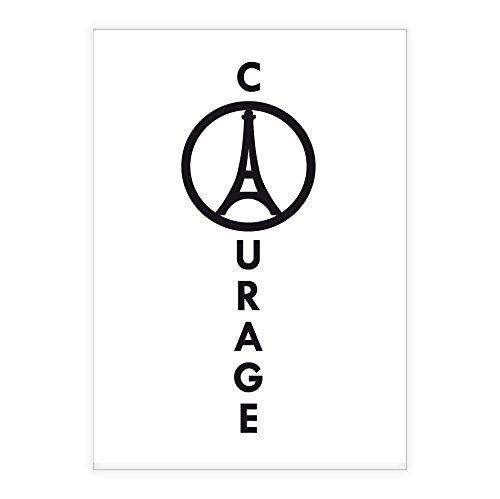 Courage, 16 notitieboekjes met Eiffeltoren, DIN A5, met lijntjes in Franse kleuren, liniëring 4 (gelinieerd boekje)