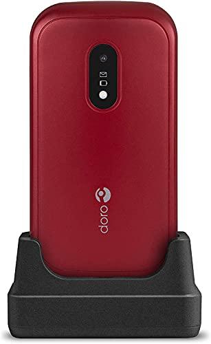 Doro 6040 Téléphone Portable 2G à Clapet Débloqué pour Seniors avec Grandes Touches, Touche d'Assistance avec GPS et Socle Chargeur Inclus (Rouge) [Version Française]