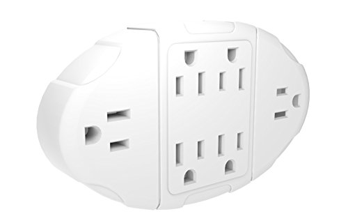 Stanley 38110 6-Way Transformer Tap with Grounded 6-Outlet Wall Adapter,White