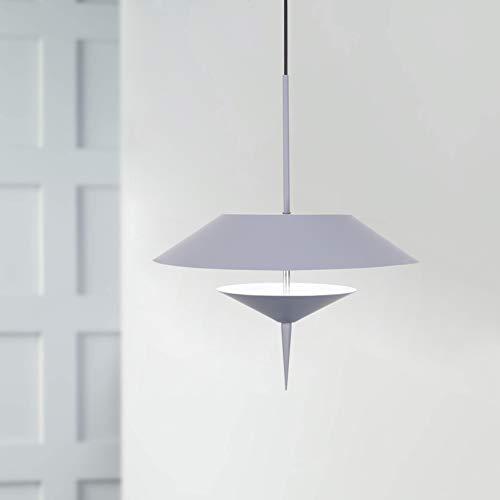 Leniure grijze moderne LED-licht hanglamp kroonluchter 30 cm breedte 45 cm hoog, koudwit 6500K