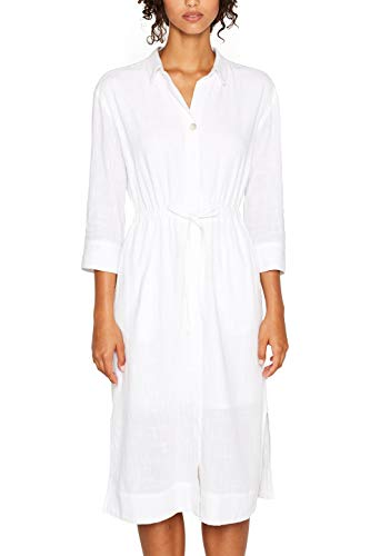edc by ESPRIT Damen 039CC1E007 Kleid, Weiß (White 100), (Herstellergröße: 34)