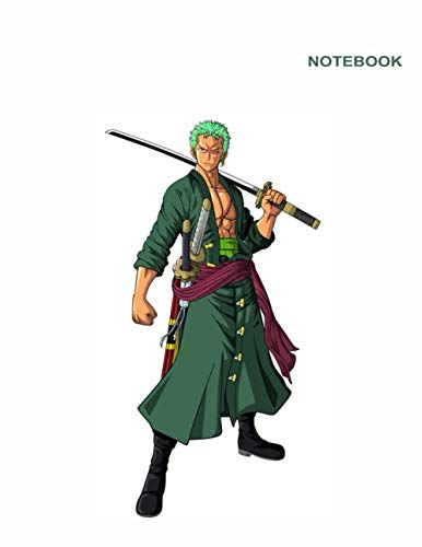 One Piece Luffy and Ace Notebook: College Ruled paper, 110 Pages, Letter Size (8.5 x 11 inches), One Piece Zoro Green Hair Notebook Cover.
