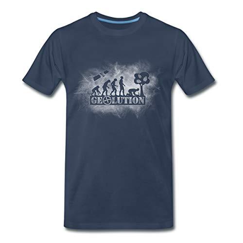 Geolution Geocaching Männer Premium T-Shirt, L, Navy