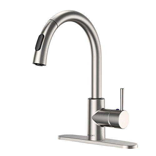 CLOFY Commercial Faucets, Single-Handle Pull-Down Spray Kitchen Faucet, High Water Pressure Faucet Single Level High Arc Lead-free Pull-Out Kitchen Sink Faucets in Brushed Nickel, Easy Installation
