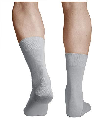 vitsocks Calcetines 100 ALGODÓN Finos Suaves Hombre (3 PARES) Lisos Cómodos, grises, 44-46