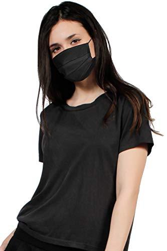 MASK 10-er Pack black schwarz 100% Vlies 3-lagig nachhaltig kochbar waschbar wiederverwendbar, in der EU hergestellt sofort lieferbar latexfreies Band, Mundschutz, Mund Nase Maske Nasen