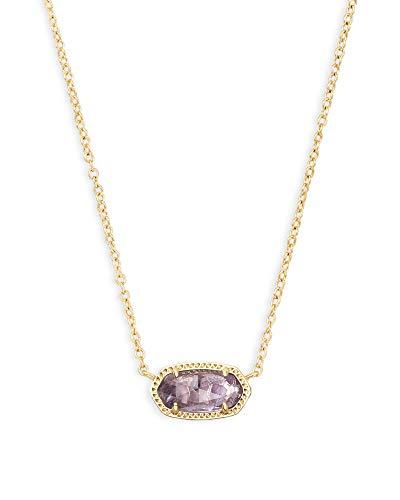 Kendra Scott Elisa Short Pendant Necklace for Women, Dainty Fashion Jewelry, 14k Gold-Plated, Amethyst