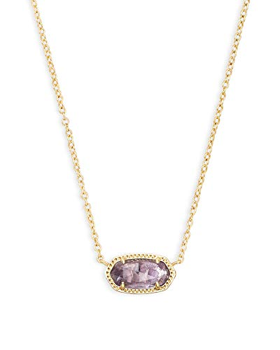 Kendra Scott Elisa Short Pendant Necklace for Women, Dainty Fashion Jewelry, 14k Gold-Plated, Amethyst