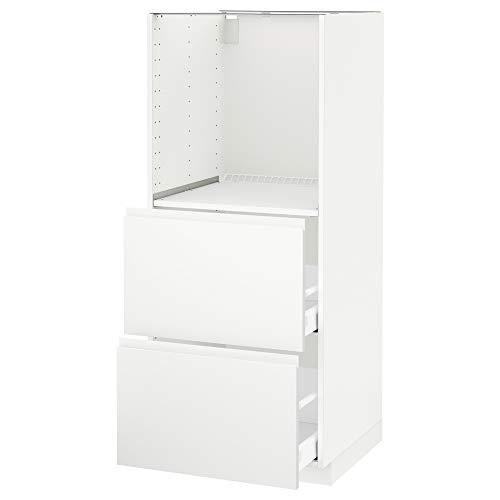METOD/MAXIMERA Mueble alto con 2 cajones para horno 60x62,1x148 cm blanco/Voxtorp blanco mate