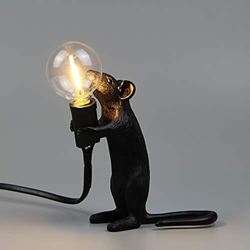 CHUIX Diseñador De Nórdica Lámpara De Mesa LED De Mordern Art Deco Decoración De Noche Lámparas De Mesa para Sala De Estar Decoración Lámpara De Escritorio, Lucky Ratón Regalo Luz De La Noche,Black c