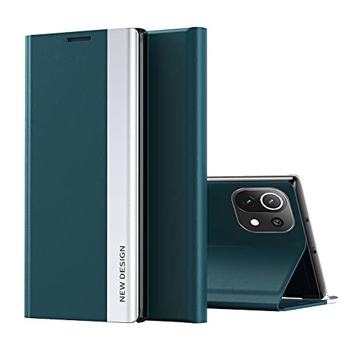 TOPOFU Funda para Xiaomi Redmi 9A, Carcasa Xiaomi Redmi 9A con Cierre Magnético, Flip Cover Case con Suporte, Étui Piel Protección-Verde