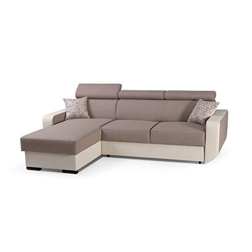 mb-moebel Ecksofa mit Schlaffunktion Eckcouch mit Bettkasten Sofa Couch Wohnlandschaft L-Form Polsterecke Pedro (Braun, Ecksofa Links)