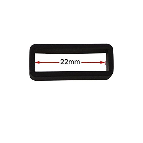 Ritche 4 Pieces Size 22mm Black Rubber Replacement Watch Band Strap Loops