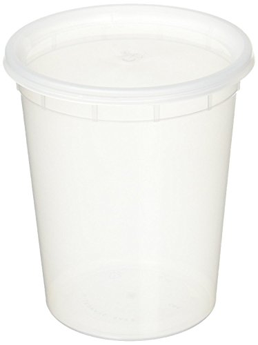 YW 5937 50 sets 32oz plastic soup/Food container with lids, Original version, Clear