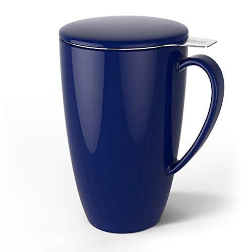 Sweese 201.103 Teetasse mit Deckel und Sieb, Becher aus Porzellan für Losen Tee Oder Beutel, Dunkelblau, 400 ml