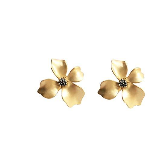 Orecchini di Fiori in Metallo Oro Opaco Senza Orecchie Piercing Clip Temperamento Grande Girasole Clip su Orecchini Gioielli da Partito per Le Donne