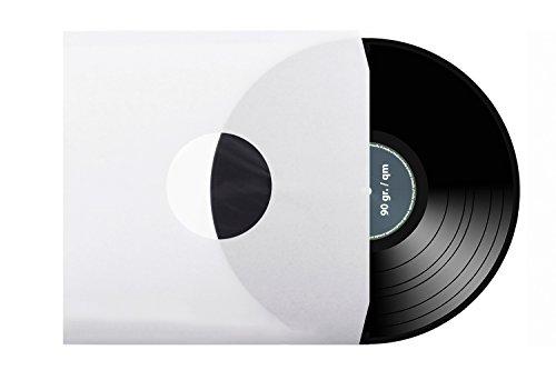 100 Stück | 12' | Schallplatten | LP | Vinyl | Innenhüllen | Eckschnitt an Öffnung | gefüttert | antistatisch | weiß | 90 gr./qm | xi-media ®