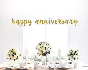 Tamengi Happy Anniversary Glitter Banner, Gold, Script Lettering, Photo Backdrop, Party Decoration, Art Decor