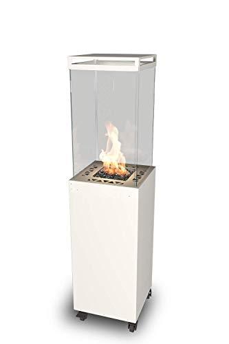 Calentador de gas para patio - Chimenea de gas al aire libre de diseño para jardín - Lighthouse Planika (blanco)