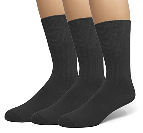 EMEM Apparel Men's Big and Tall King Size Diabetic Circulatory Non-Binding Top Loose Top Casual Dress Crew Mid Calf Cotton Seamless Toe Hosiery Socks 3-Pack Black 13-15