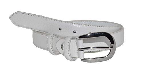 GreSel Cintura da Donna in Vera Pelle, Accorciabile, Altezza 3cm, Con Cuciture (115 (50-52), Bianco)