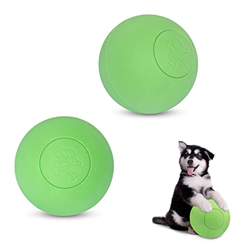 Vongfome Pelota de juguete para perros resistente a mordeduras con pelo dorado para cachorro, cachorro, cachorro, perro, mascota, pelota de entrenamiento de goma, 2 unidades