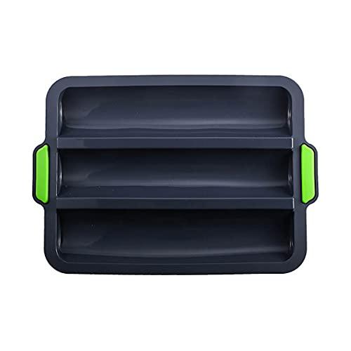 HHF-1 Bandeja para Hornear Mini Baguette, Pan Bandeja de Silicona, 3 RejillasAntiadherente Pan Molde para Francés Pan, Material Blando, Pan Palos y Pan Rollos (Beige, Gris, Amarillo)-Black
