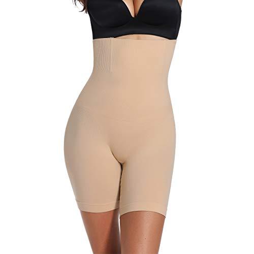 Woweny Unterhosen mit Bein Damen Hohe Taille Boxershort Miederhosen Panties, Beige, S