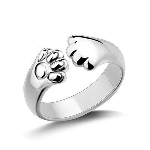 EBAT Cat's paw Temperament Sweet and Cute Footprint Ring Promise Rings Sterling Silver Custom Couples Engagement Name Ring for Women Mothers Ring Jewelry for Women Birthday Gifts