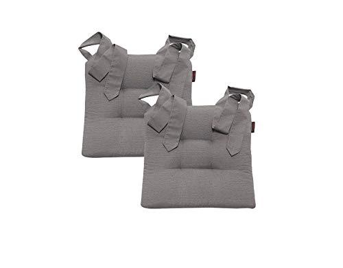 Stuhlkissen Sitzkissen Schleifenband Auflage Polster Stuhl Stuhlauflage Rattanstühle extra dick Esszimmerstühle 2er Set, Farbe:Magma_grau_003