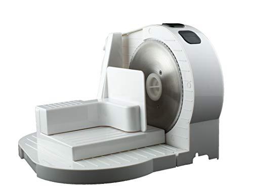 Exquisit AS 3101 we | Brotmaschine | 150 Watt | Brotschneidemaschine | elektrischer Allesschneider | stufenlos einstellbar | Wellenschliff Schneidemesser | Weiß