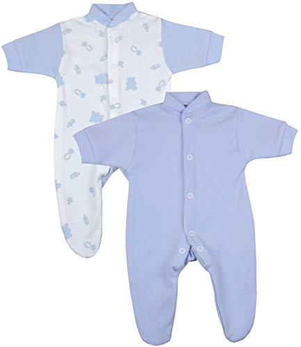 Babyprem Frühchen Baby 2 Schlafanzüge Strampler Frühgeborene Kleidung Jungen Blauer Teddy 44-50cm