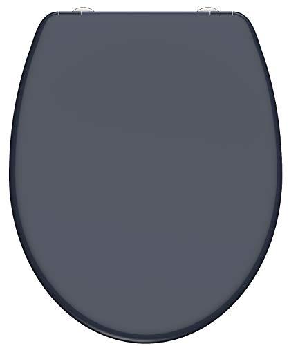 SCHÜTTE WC-Sitz Duroplast ANTHRAZIT, Toilettensitz mit Absenkautomatik und Schnellverschluss für die einfache Reinigung, maximale Belastung der Klobrille 150 kg, Dunkelgrau 82304