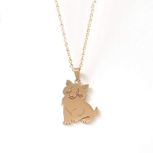 VAWAA 1 Pieza Collar de Acero Inoxidable Figura de Palo Kitty Gatito Gato Colgante niños niñas gargantillas Collar Llamativo Chica de la Suerte