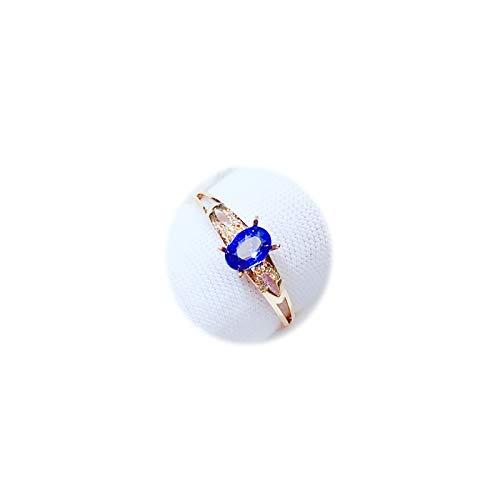 Daesar Anillo de Oro Rosa 18K Mujer Oro Rosa Verde Oval Zafiro Azul Talla 17